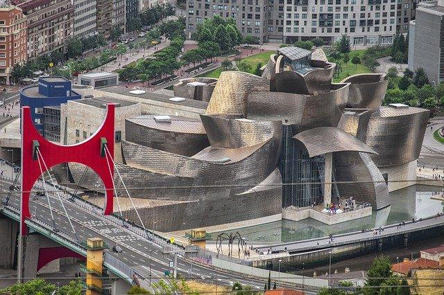 The Red Arches of Daniel Buren Guggenheim Bilbao